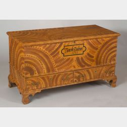 Paint Decorated Poplar Dower Chest