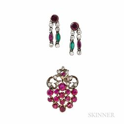 Gem-set Brooch and Earrings