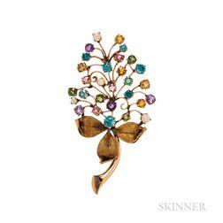 14kt Gold Gem-set Leaf Brooch
