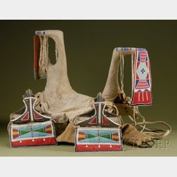 Plains or Plateau Beaded Wood, Hide, and Cloth Woman's Saddle and Stirrups