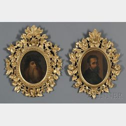 Raffaello Lucchesi (Italian, 19th Century)      Pair of Portraits in Carved and Gilded Frames