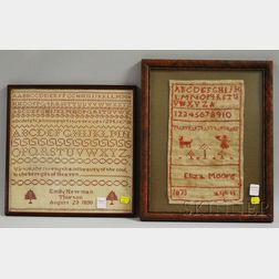 Two Framed 19th Century Needlework Samplers