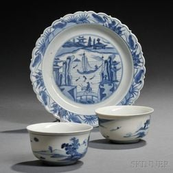 Three Blue and White Tableware Items