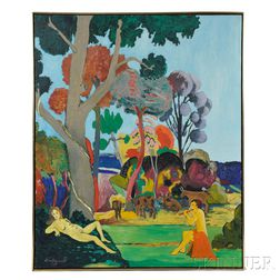 Bill Barrell (American, b. 1932)      Flute Player & Muse