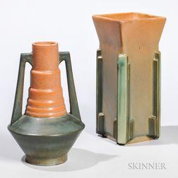 Two Roseville Futura Pottery Vases
