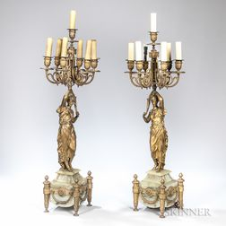 Pair of Seven-light Figural Bronze Candelabra
