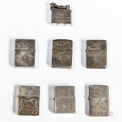 Seven Silver World War II Lighters