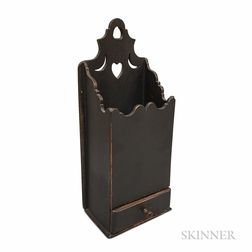 Carved and Black-painted Pine One-drawer Hanging Wall Box