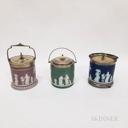 Three Wedgwood Jasper Biscuit Jars
