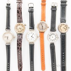 Six Illinois Watch Co. Military Trench Wristwatches