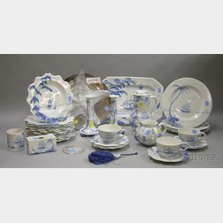 Seventy-four Piece Isis Ceramics Hand-painted Gateways by the Sea Pattern   Dinner Service
