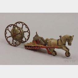 Gong Revolving Chimes Bell Toy and Part of a Cast Iron Mule-drawn Vehicle