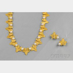 18kt Gold and Cultured Pearl Leaf Necklace and Earclips, Buccellati