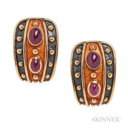 18kt Gold, Ruby, and Enamel Earrings