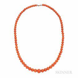 Antique Coral Bead Necklace