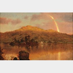 Louis Rémy Mignot (American, 1831-1870), Rainbow over a Lake in the Hudson River Valley, Possibly Close of a Showery Day, Lake George,