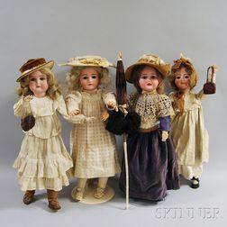 Four German Bisque Head Dolls