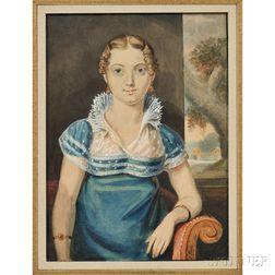 John Lewis Krimmel (Pennsylvania, 1787-1821)      Young Woman in a Blue Dress
