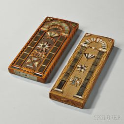 Two Carved Mother-of-pearl- and Hardwood-inlaid Cribbage Boards