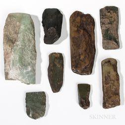 Eight Eskimo Nephrite Adze Blades