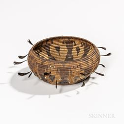 Pictorial Beaded and Feathered Pomo Basketry Bowl