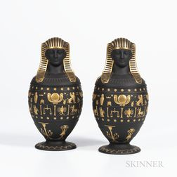 Pair of Modern Wedgwood Black Basalt Canopic Jars and Covers