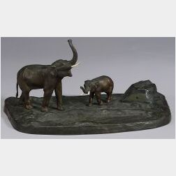 Austrian Bronze Inkstand Mounted with a Pair of Elephants