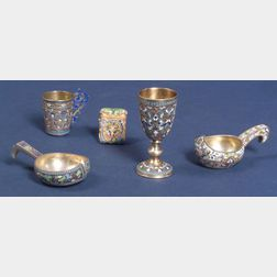 Five Small Russian Silver Enamel Tablewares