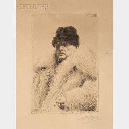 Anders Zorn (Swedish, 1860-1920)      Self Portrait 1916