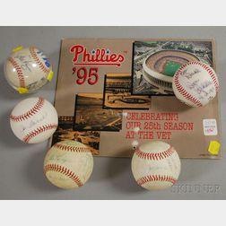 Five Autographed Baseballs and a Team Calendar