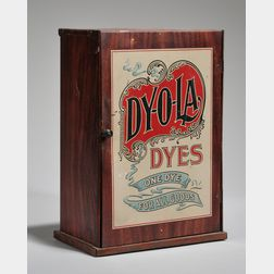 Dy-O-La Dyes Chromolithographed Tin Retail Advertising Countertop Cabinet