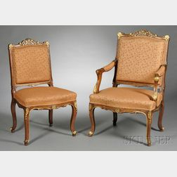 Set of Six French Parcel-gilt Salon Chairs