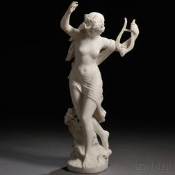 Italian School, Late 19th/Early 20th Century       Marble Figure of a Woman on a Wave with a Lyre