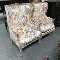 Pair of Louis XVI-style Upholstered and Molded Bergeres