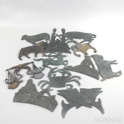 Set of Twelve Bronze Signs of the Zodiac Plaques