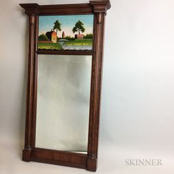 Federal Reverse-painted Mahogany Tabernacle Mirror