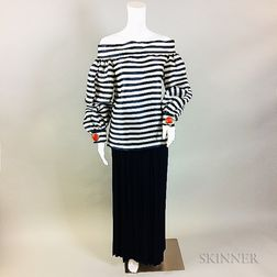 Oscar de la Renta Navy and White Striped Shirt and Navy Skirt