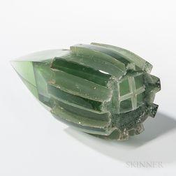 Vladimira Klumpar (Klumparova) Sea Chamber Green   Art Glass Sculpture