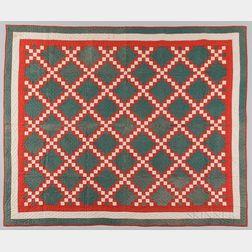 Hand-stitched Lattice Pattern Quilt