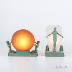 Two Frankart Figural Lamps
