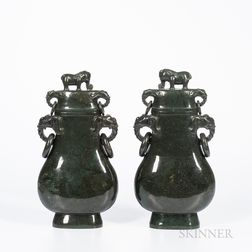 Pair of Carved Hardstone Covered Vases