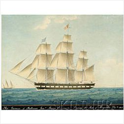 Joseph Honore Maxime Pellgrin (French, 1793-1869)  Ship Garonne of Baltimore...Leaving the Port of Marseilles 1845.