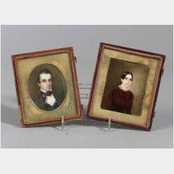 American School, 19th Century  Two Miniature Portraits