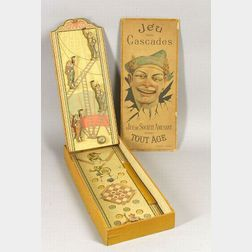 "Boxed Lithographed Wood and Board Clown Bagatelle ""Jes Des Cascades,"""