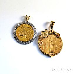Two Coins Mounted as Pendants