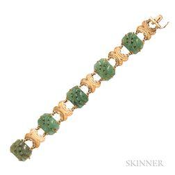 18kt Gold and Carved Hardstone Bracelet