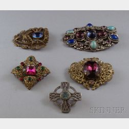 Five Paste-inset Costume Brooches/Clips