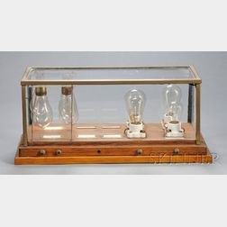Display of Eight Early Light Bulbs of Various Descriptions