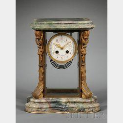 Gilt Bronze and Quartz Mantel Clock