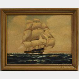 American School, 20th Century      Ship in Full Sail